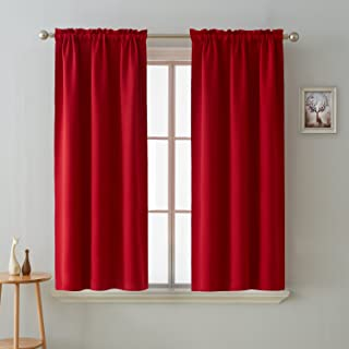 Deconovo Room Darkening Curtain Thermal Insulated Blackout Curtains for Kids Room Red 38 x 63 Inch 2 Panels