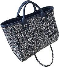 حقيبة كتف صوفية كبيرة الحجم بسحاب كبيرة للنساء، تصميم متعدد الألوان، جميلة، متينة، متعددة الاستخدامات