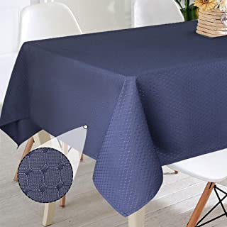 VCVCOO Rectangular Tablecloth, Waffle Jacquard Weave Fabric Table Cloth, Waterproof and Stain Resistant Table Cover for Kitchen Dinning Wedding Tabletop Decoration, 60 by 84 Inch,Navy Blue
