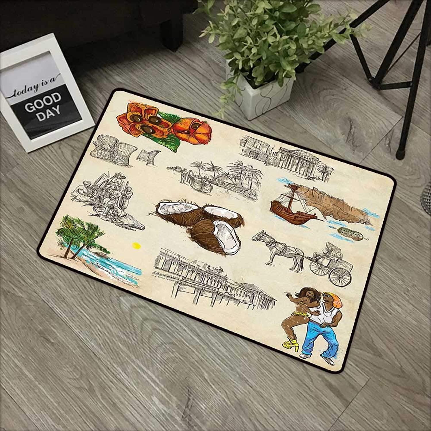 Bathroom Door mat W35 x L59 INCH Jamaican,Hand Drawn Illustrations of Elements from Caribbean Cultures Old Paper Effect,Multicolor with Non-Slip Backing Door Mat Carpet