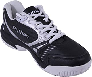 Python Deluxe Indoor Court Shoes (Racquetball, Squash, Badminton, Indoor Pickleball, Volleyball) (Low & Mid) (Black & White Colors) (Non-Slip) (Non-Marking)
