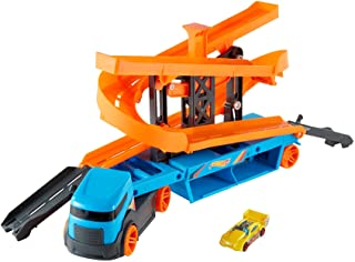 Hot Wheels City Lift & Launch Hauler Vehicle with Storage for Up to 20 1:64 Cars, Lift and Launch Feature and 1 Hot Wheel...