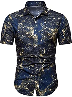 SFE Mens Fashion Shirts,Men Summer Bohe Floral Short Sleeve Basic T Shirt Blouse Top Plus Size