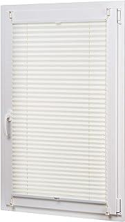 AmazonBasics - Estor enrollable plisado, de tela de poliéster color liso, con sistema de clips, 60 x 130 cm, Crema
