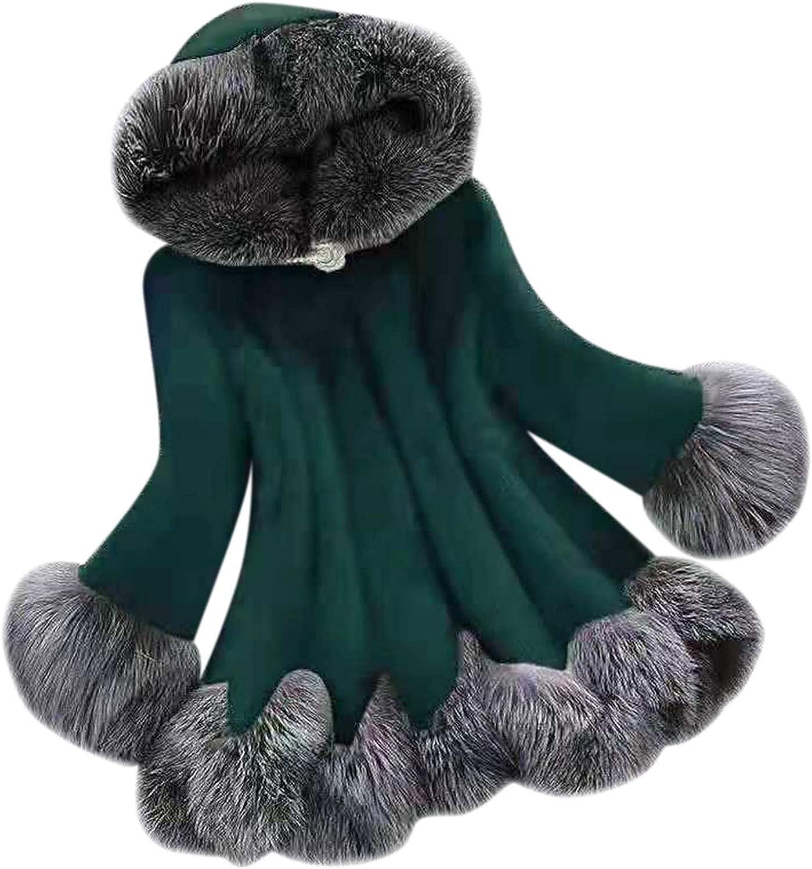 NBXNZWF Faux Fur Coat Womens Elegant Thick Warm Winter Fashion Hooded Outerwear Long Fake Lining Jacket
