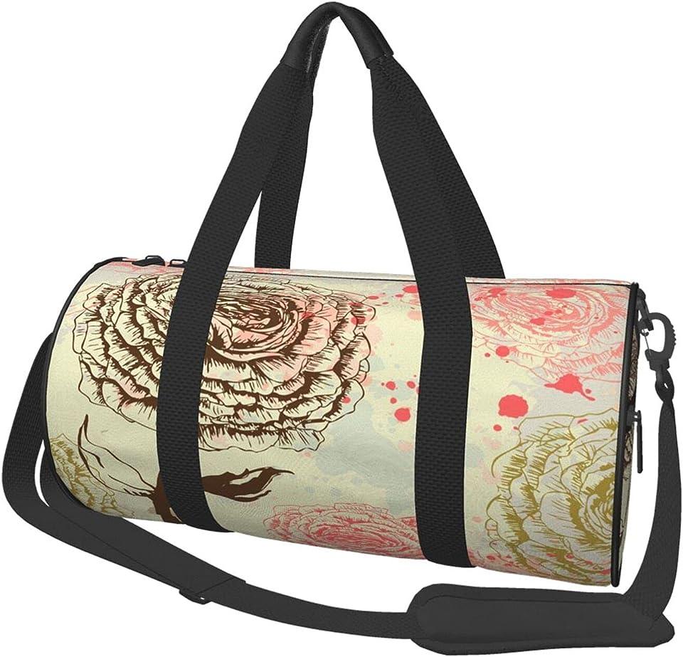Pink Retro Roses Flowers Floral Vintage Gym Duffle Bag For Women Men Travel Weekender Lightweight Bags