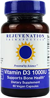 Vitamin D3 1000IU by Rejuvenation Therapeutics (60 Capsules) - No Artificial Fillers, Rice, or Excipients. Gluten-Free. Bone Health Support