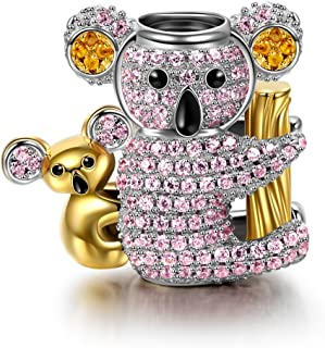 Koala Baby Christmas Charms Gifts 925 Sterling Silver Charms Gold Plated Bead Charms with 5A Cubic Zirconia, Ideal Happy Family Series