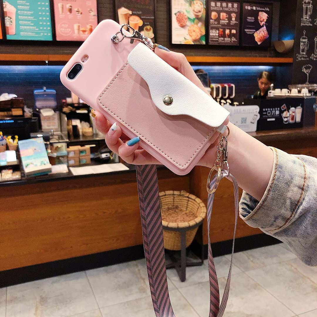 ISYSUII Crossbody Case for Samsung Galaxy A21 Wallet Case with Credit Card Holder Adjustable Neck Lanyard Strap Leather Purse Handbag Magnetic Protective Case for Girl Women,Pink