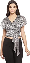 Martini Women Lace Stylish Front Knot Party Crop Top for Girls Western (Silver Grey, Size : XS – M)