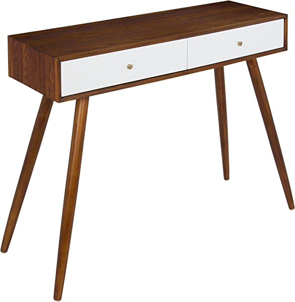 Kate And Laurel Finco 2 Drawer Console Table Walnut Brown And White