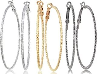 Silver Gold Gunmetal Grey Rhodium Plate Hoop Earrings Set For Women Teen Jewelry Diamond Cut 3 Pairs