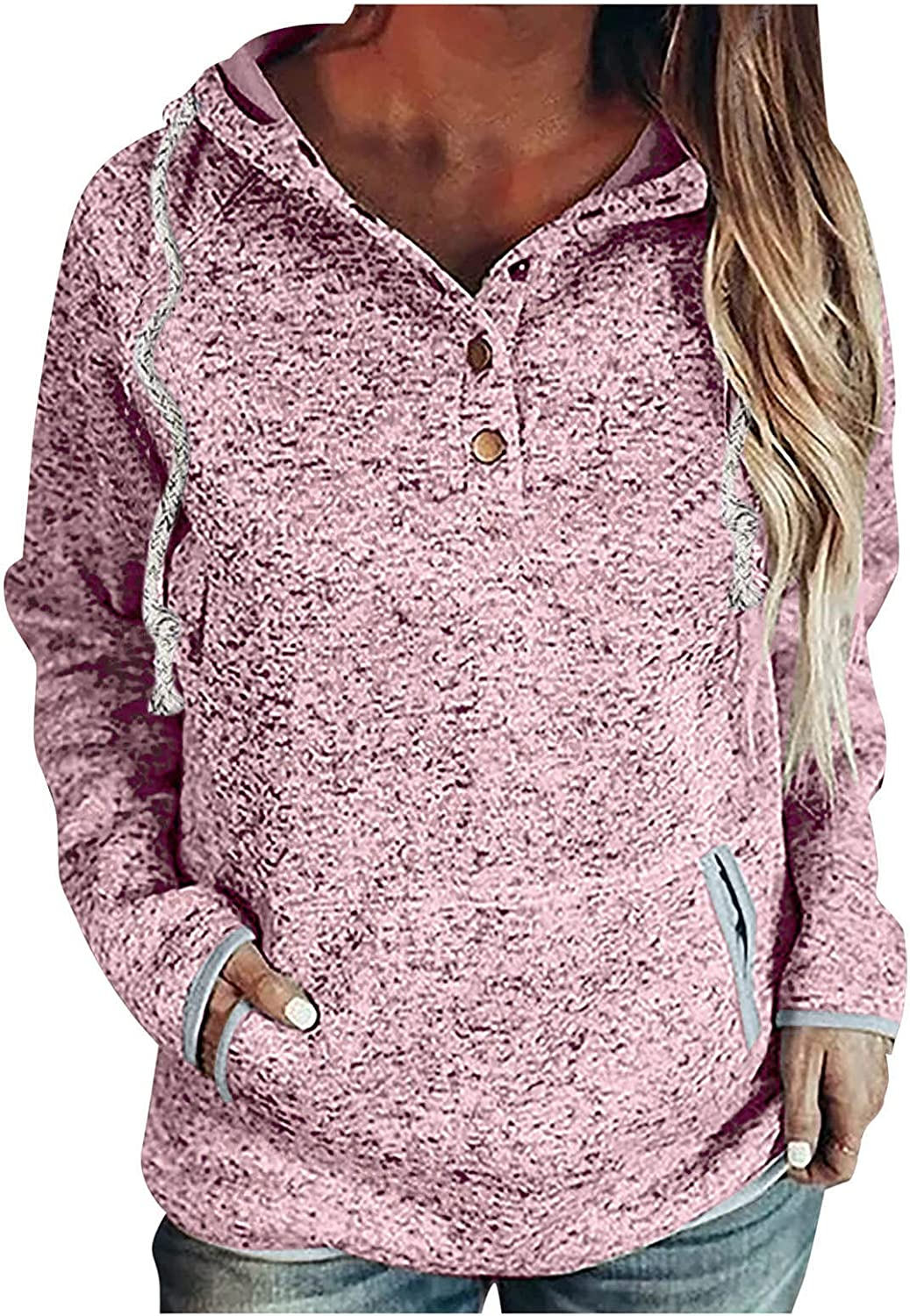 Women's Casual Long Sleeve Hoodies Round Neck Loose Fit Blouses T Shirts Sweatshirts Pullover Tops Shirts with Pocket