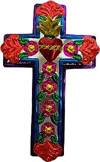 Casa Fiesta Designs Embossed Tin Cross - Mexican Folk Art Wall Decor - Handmade in Mexico - Milagros Charm - Sacred Heart Ornament - Mexican Art - 11
