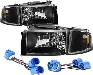 For Dodge Ram 2nd Gen Pair of Headlight+Corner Lights+Wire (Black Housing)