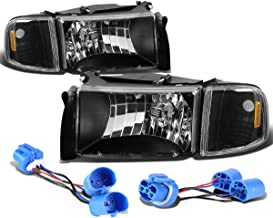 For Dodge Ram 2nd Gen Pair of Headlight+Corner Lights+Wire (Black Housing)