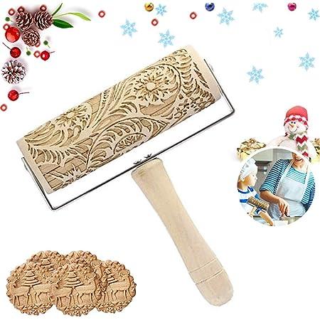 Sunshine smile Rouleau à pâtisserie gravé,Rouleau Pâtisserie Motif Noel,Rouleau Patisserie Motif,Rouleau de Noël en Relief (C)