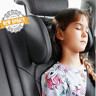 greatlong Car Seat Headrest,Car Seat Pillow,Highly Elastic Foam Both Sides Neck Cushion,Adjustable Travel Sleeping Headrest for Kids Adults Black
