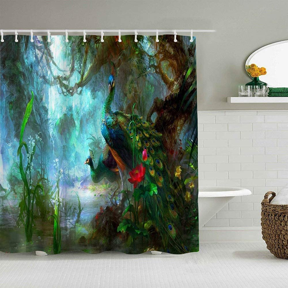 Two Peacocks in Fairy Forest Printed Selling and selling The Picture Painting Luxury Animal