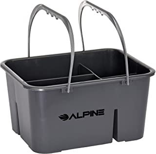 Alpine Industries 4-Compartment Plastic Cleaning Caddy – Heavy Duty Divided Cleaner & Tools Bucket for Sanitizing Commercial Bathroom Floors & Windows