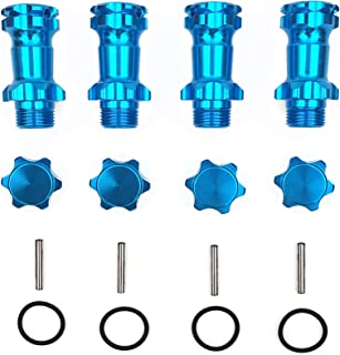 4PCS 17mm Aluminum Wheel Hubs Hex Kit Extension Adapter 34mm with Steel Pin Inner Diameter 8mm + O-Ring for 1/8 RC Hobby Car Buggy Monster Truck