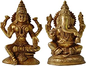 Goddess Lakshmi and Ganesha Brass Statue Hindu Lord Religious Idol for Pooja
