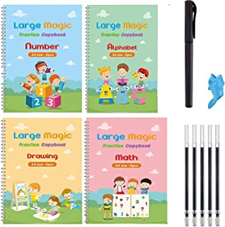Large Reusable Magic Handwriting Copybook kids perfect Tracing Practice kit Preschool Calligraphy Book Set included Easy G...