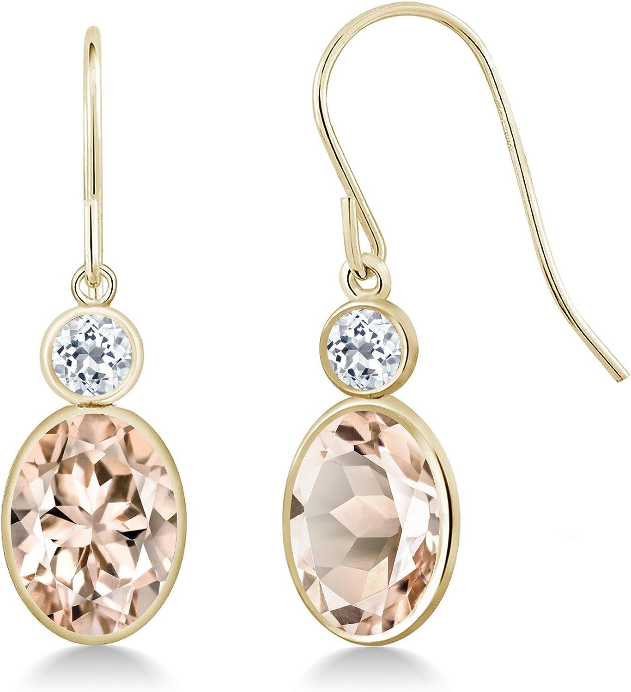 Gem Stone King 2.28 Ct Oval Peach Morganite White Topaz 14K Yellow gold Earrings
