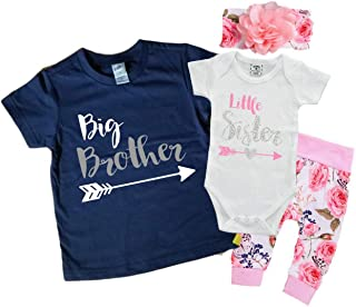 Aibixi Newborn Baby Girls Boys Shirt Romper Short Sleeve Big Brother Little Brother Matching Outfits Clothes Set