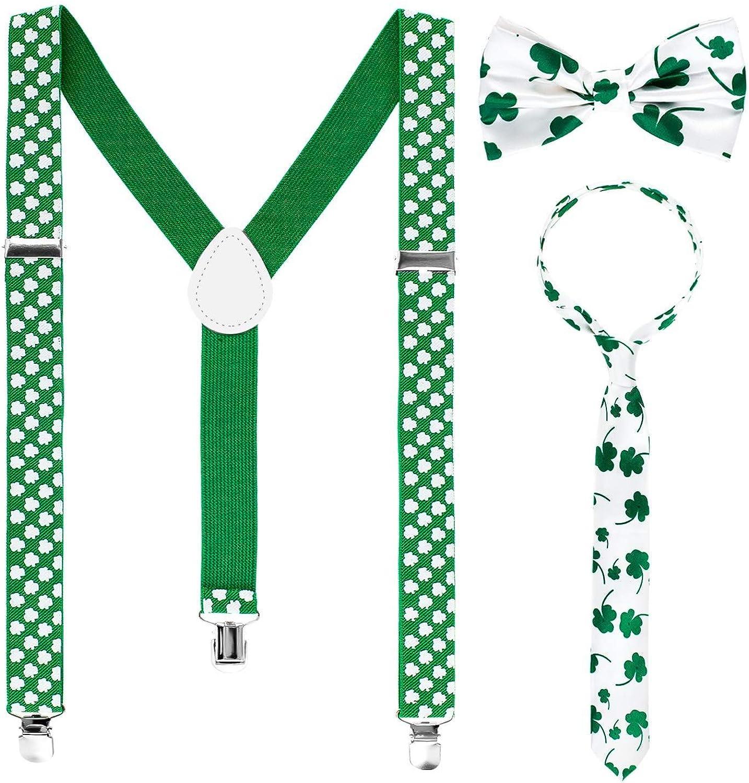Shamrock Y Back Suspender, Bowtie, Necktie for St. Patrick's Day Costume Accessory.(F4)
