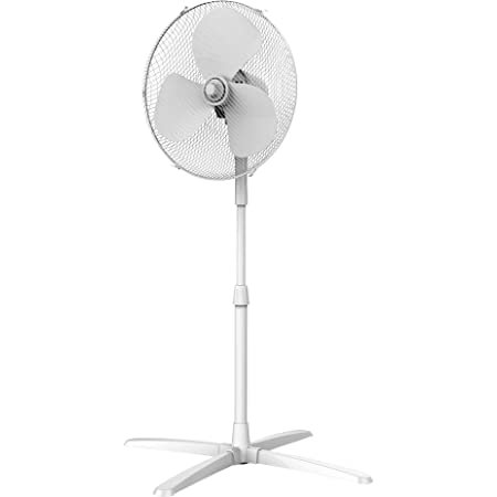 Igenix DF1655 Pedestal Fan, 16 Inch, 3 Speed, Quiet Operation, Oscillating, Adjustable Height, Cooling Fan, Ideal for Home and Office, 40 w, White