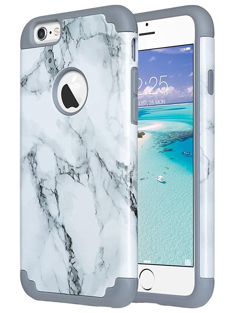 ULAK iPhone 6S Case, iPhone 6 Case Marble, Slim Fit Dual Layer Soft Silicone Gel Rubber & Hard Back Cover Bumper Protective Shock-Absorption & Skid-Proof Anti-Scratch Hybrid Case, Marble Pattern