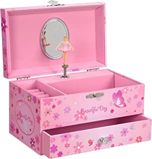 """SONGMICS Ballerina Music Jewelry Box Storage Case with Drawer, Gift for Little Girls, 7.5""""L x 4.3""""W x 4.3""""H, Pink"""
