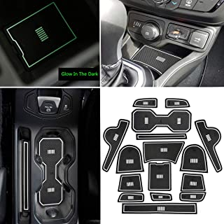 YOCTM For Jeep Renegade 2018 2019 Interior Mats Accessories Cushion Non-Slip Gate Slot Pad Cup Mats Renegade Interior Door Slot Pad Mat Waterproof White - Glow in the dark (White)