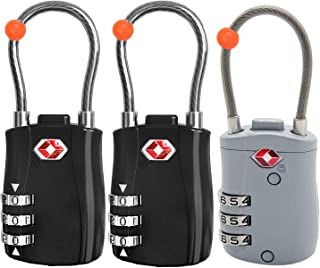 RST-075 (3 Pack) TSA Approved 3 Digit Combination Lock with Steel Cable,Travel Lock,Security Lock,Set Your Own Combination...