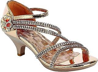 angel-37K Little Girl Mid talón Rhinestone Pretty Sandalia Vestido Zapatos