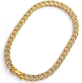 Cuban Link Chain for Men Iced Out Men's Gold Chain Miami 18k Real Silver and Gold Plated/Platinum Choker Necklace and Bracelet Full Cz Diamond Cut Prong Set with Gift Box
