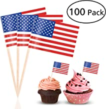 Tinksky US Flag Picks American Flag Food Toothpicks Party Accessory Party Favors, pack of 100