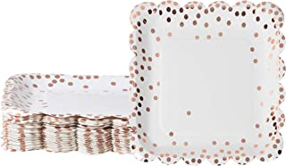 Rose Gold Paper Plates - 48-Pack Disposable 9-Inch Square Scalloped Plates with Rose Gold Foil Polka Dot Confetti, For Cake, Appetizer, Lunch, Dessert, Elegant Party Supplies