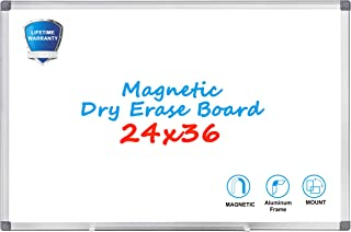 Magnetic Dry Erase Board - WEYOUNG 36 x 24 Inch Wall Hanging White Board with Aluminum Frame for School, Home, Office (24 x 36 inch)