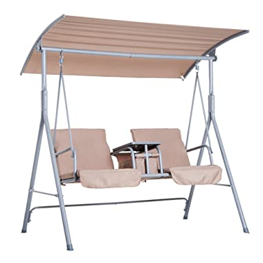 Outsunny 2 Person Porch Covered Swing Outdoor with Canopy, Table and Storage Console, Beige