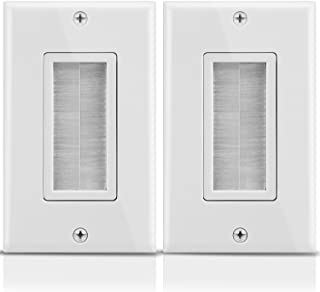 Fosmon 1-Gang Wall Plate (2 Pack), Brush Style Opening Passthrough Low Voltage Cable Plate in-Wall Installation for Speake...