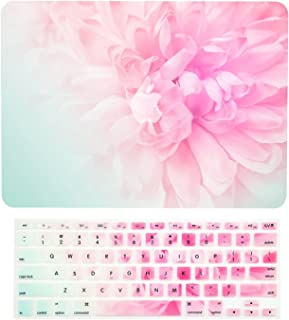 """TOP CASE - 2 in 1 Signature Bundle Floral Pattern Rubberized Hard Case + Keyboard Cover Compatible MacBook Air 13"""" (13"""" Diagonally) A1369 / A1466 (Older Version, Release 2010-2017) - Pink Peony"""