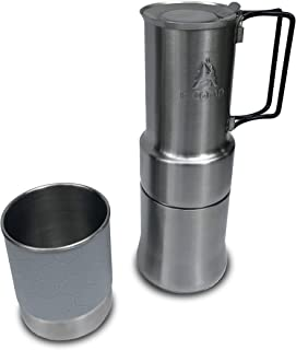 nCamp Portable/Compact Espresso Style Stainless Steel Stovetop Café/Coffee Maker for Picnic Hiking and Camping