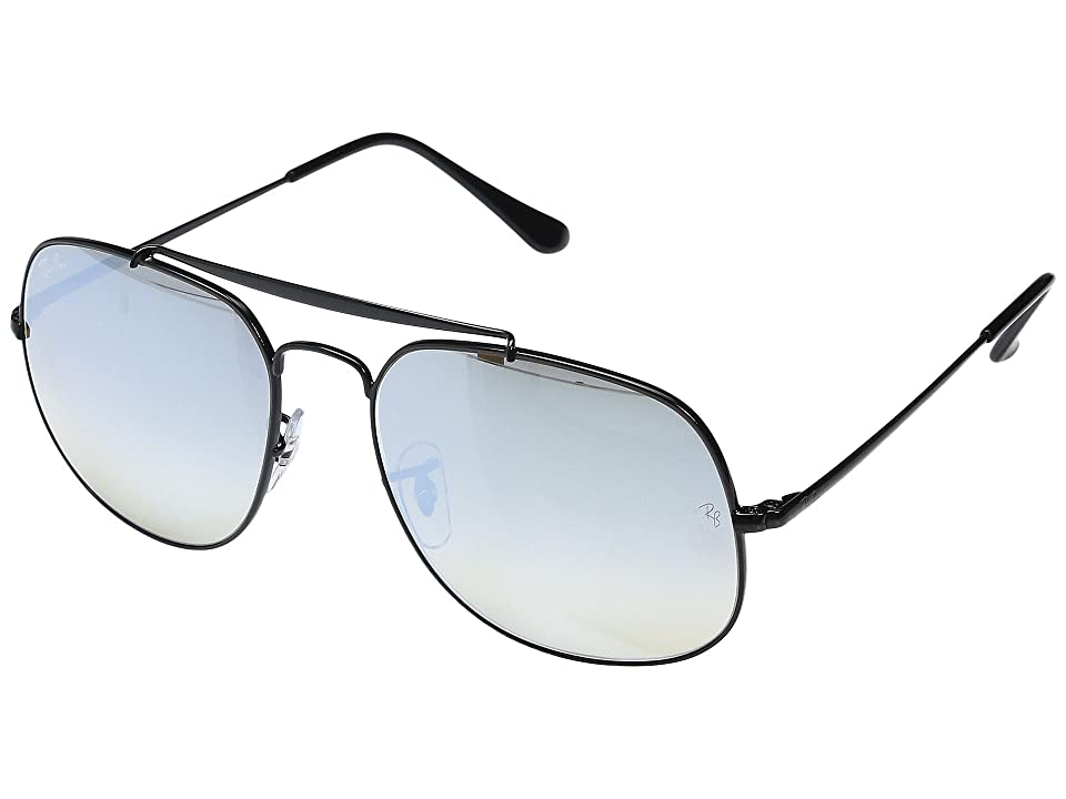 Ray-Ban 0RB3561 The General 57mm (Shiny Black Frame/Grey Flash Gradient Lens) Fashion Sunglasses
