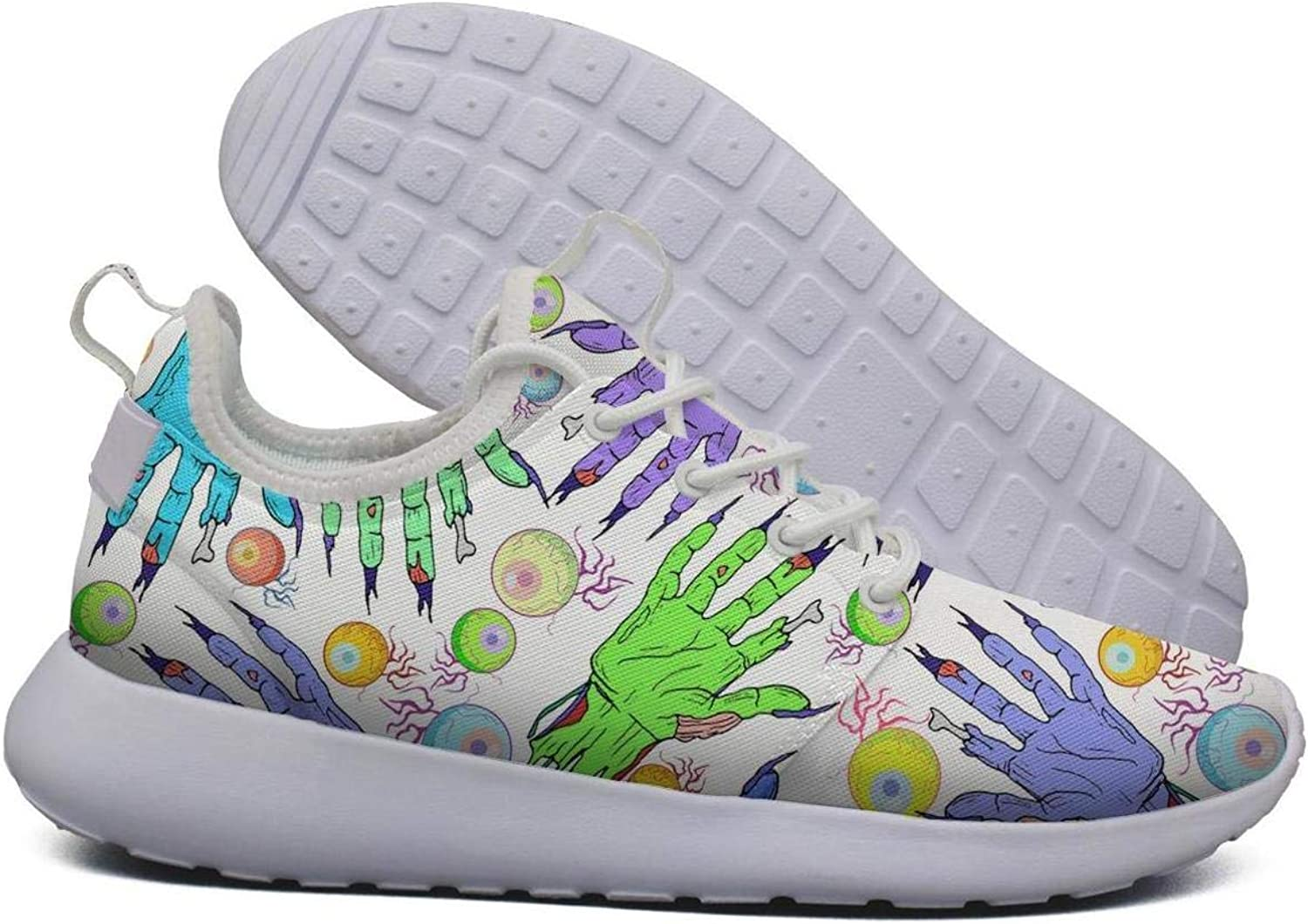 Hoohle Sports Womens colorful Zombie Hand Eye Flex Mesh Roshe 2 Lightweight Print Cross-Country Running shoes