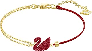 SWAROVSKI Women's Iconic Swan Jewelry Collection, Rose Gold Finish, Red Crystals