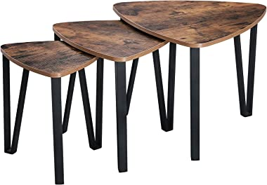 VASAGLE Industrial Nesting Coffee Table, Set of 3 End Tables for Living Room, Stacking Side Tables, Sturdy and Easy Assembly,