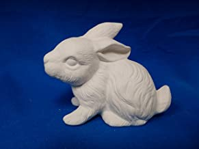 Realistic Sitting Bunny Rabbit looking left unpainted ceramic bisque ready to be painted