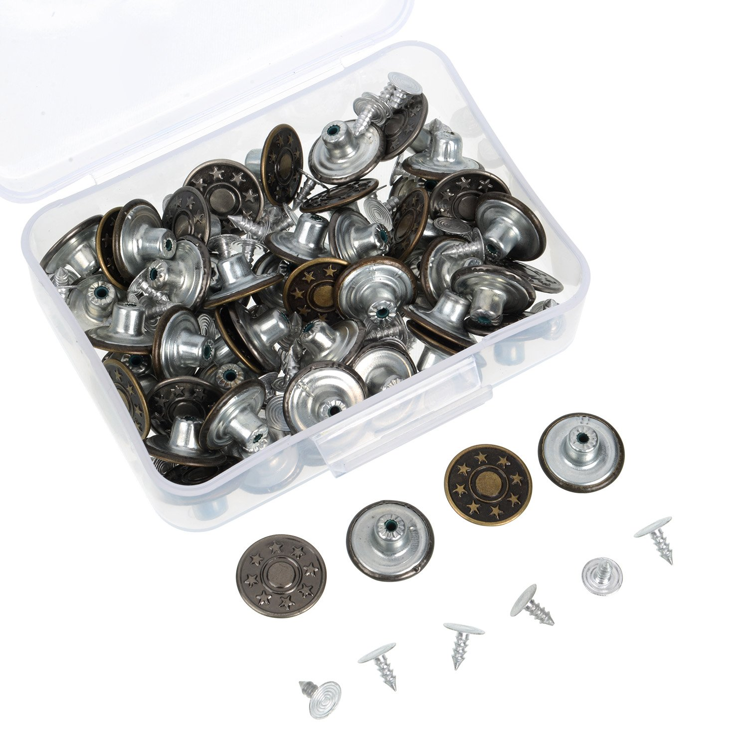 Shappy 50 Sets Metal Jeans Buttons Denim Replacement Buttons Tack Snap Buttons with Rivets and Storage Box for Jackets Jeans, Bronze and Silver